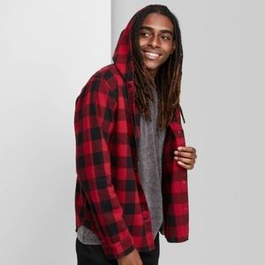 Plaid Long Sleeve Hooded Flannel Button-Down Shirt